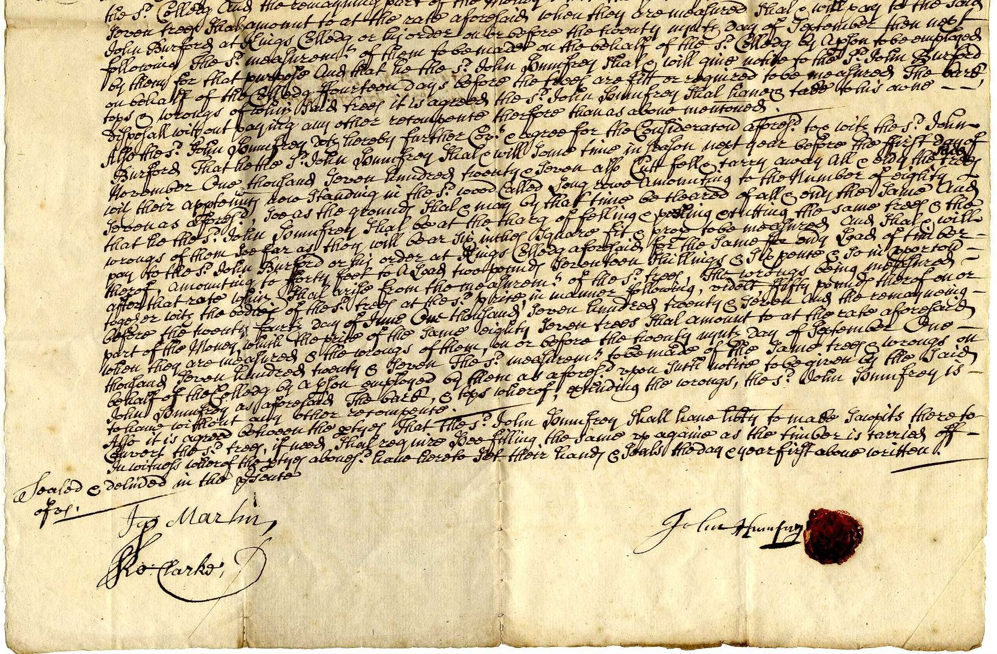 Lower half of an agreement for the sale of 234 oak trees to John Humphry, 1726. [TOM/54]