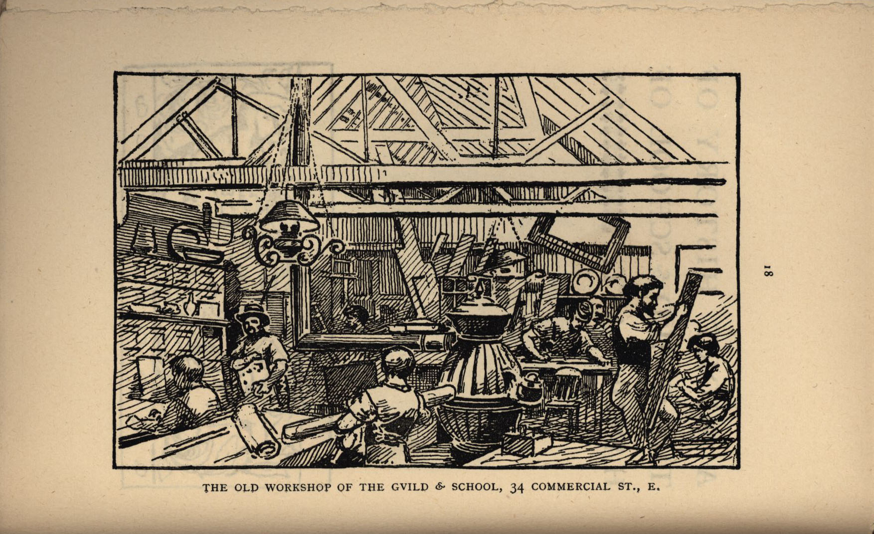 Workshop of the Guild and School of Handicraft, 34 Commercial St. [Ashbee (1890) 'Transactions of the Guild & School of Handicraft, vol. I., 1890', p.18]