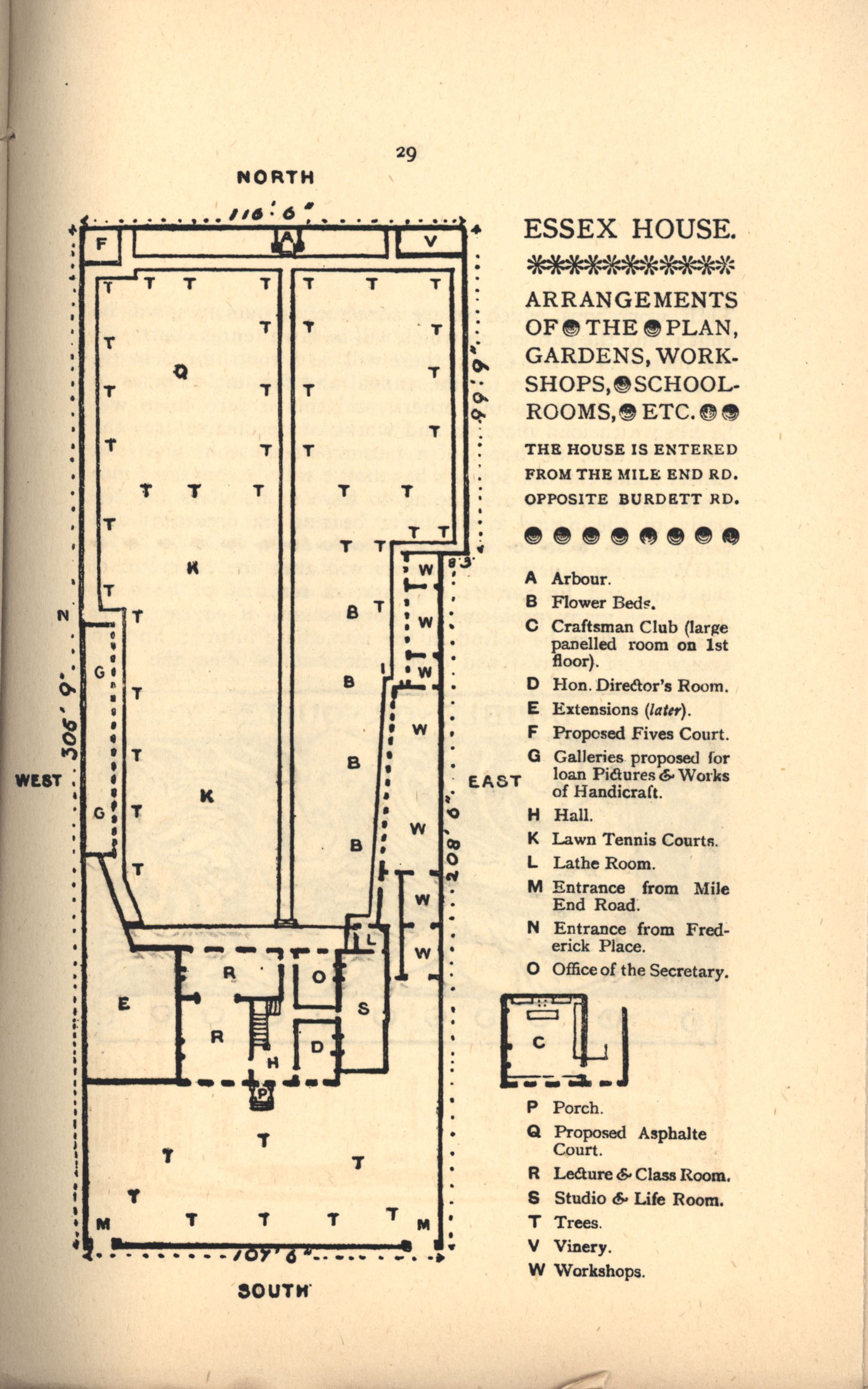 Plan of Essex House, Mile End. [Ashbee (1890) 'Transactions of the Guild & School of Handicraft, vol. I., 1890', p.29]