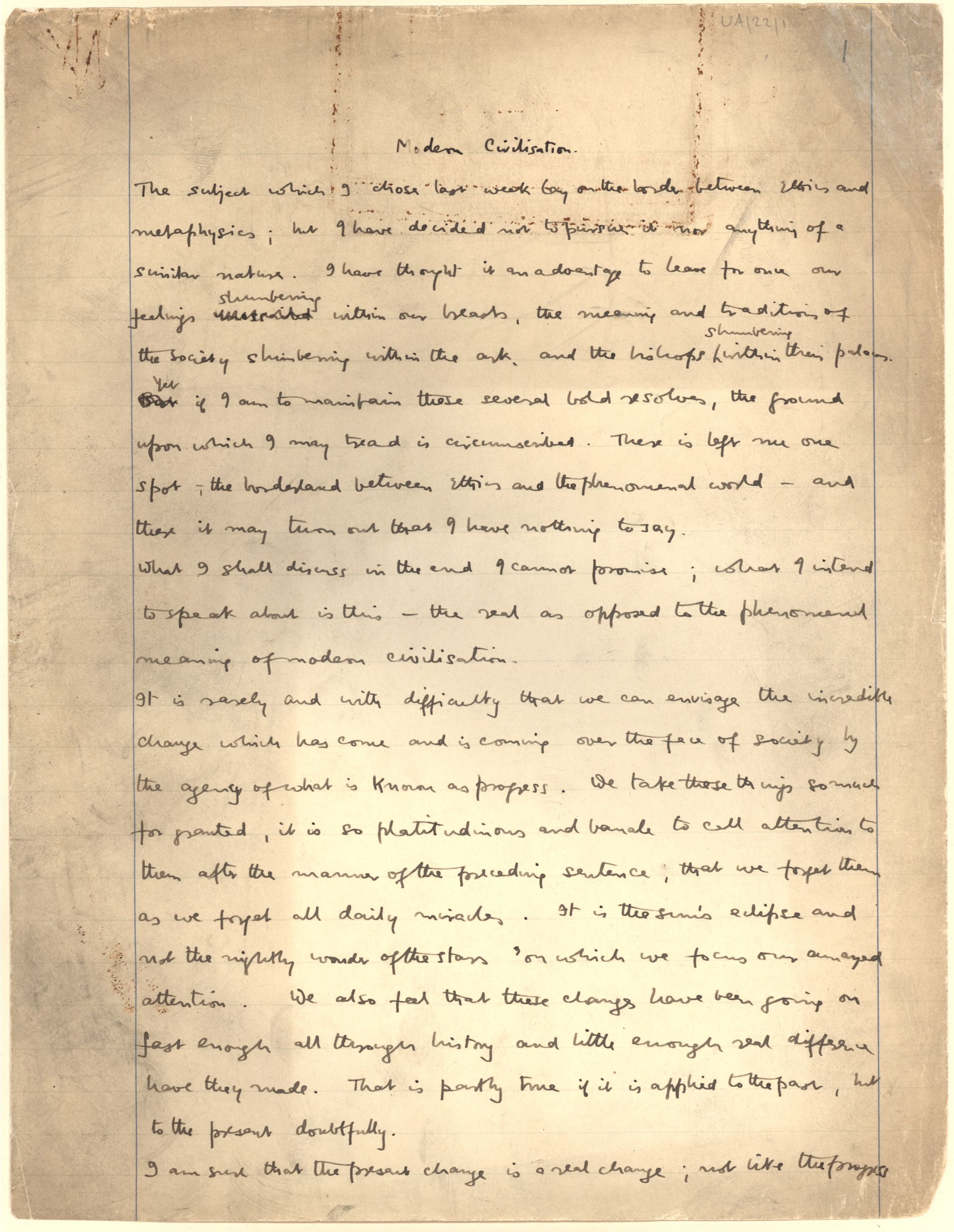 First page of a paper entitled 'Modern civilisation', which Keynes read to the Apostles, c.1905. [JMK/UA/22]
