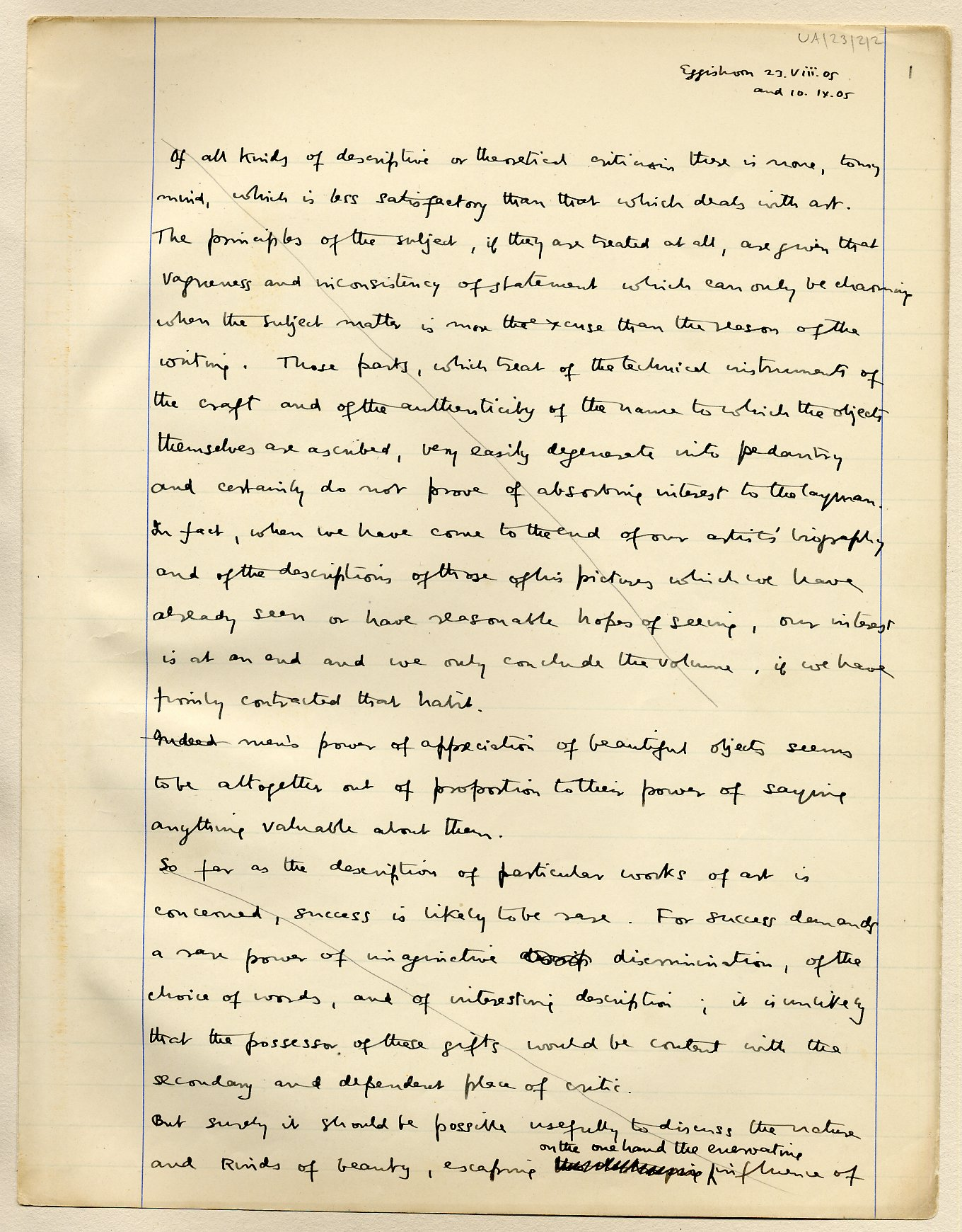 First page of a paper on beauty, which Keynes read to the Apostles on 25 May 1912. [JMK/UA/23]