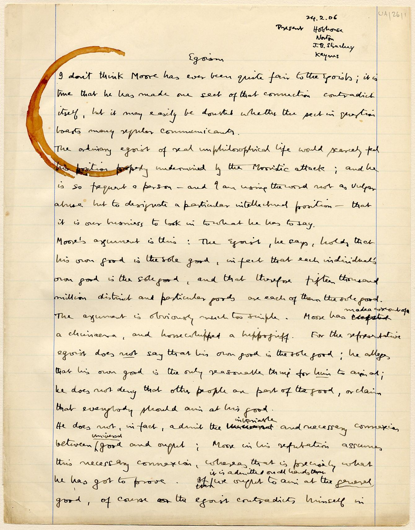 First page of a paper entitled 'Egoism', which Keynes read to the Apostles, c.1906. [JMK/UA/26]