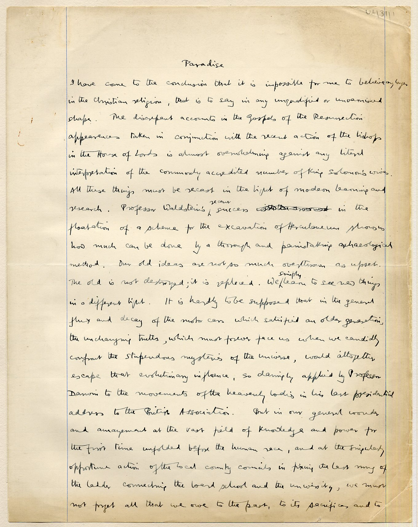 First page of a paper entitled 'Paradise', which Keynes read to the Apostles, c.1908. [JMK/UA/31]