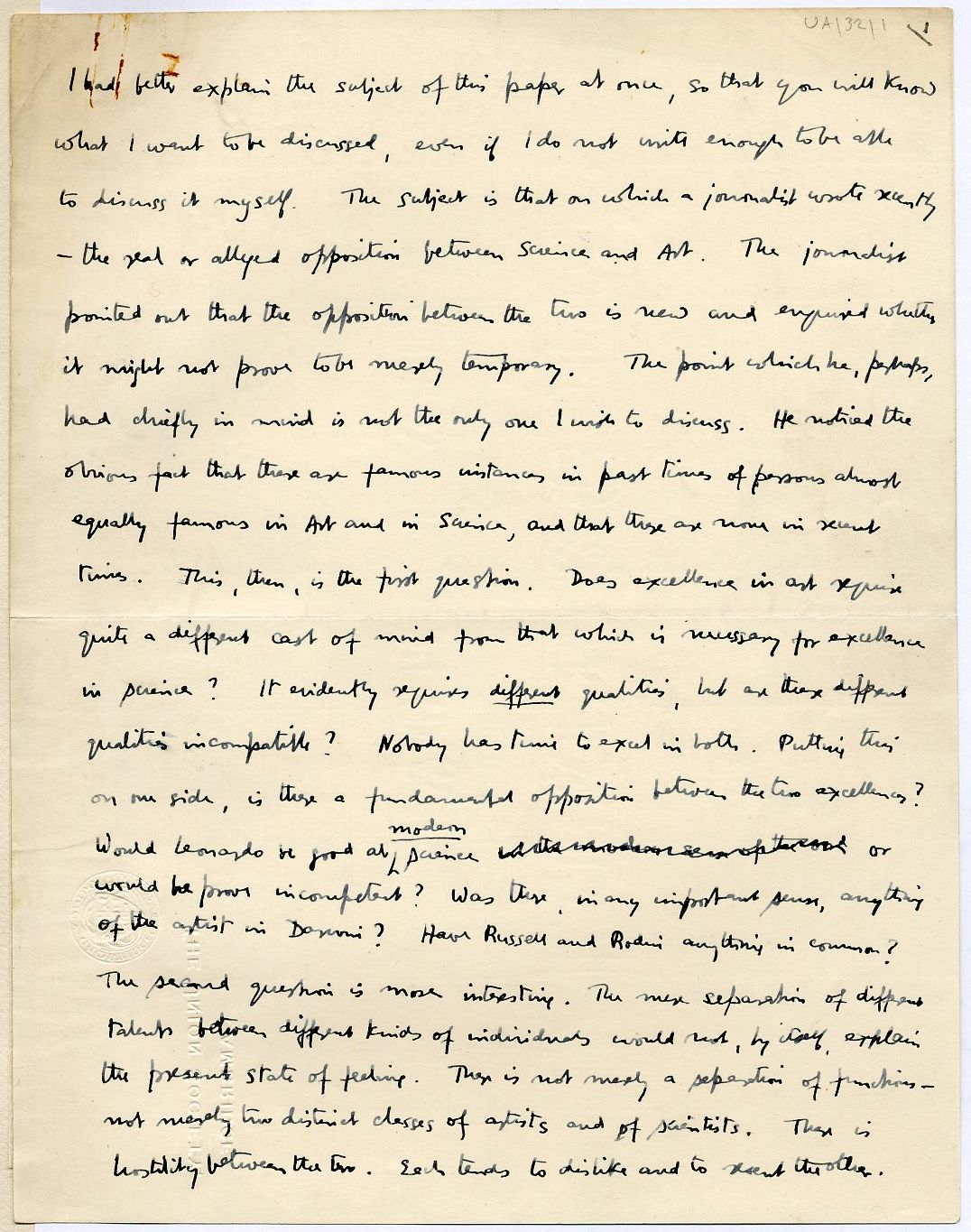 First page of a paper entitled 'Science and Art', which Keynes read to the Apostles, c.1909. [JMK/UA/32]
