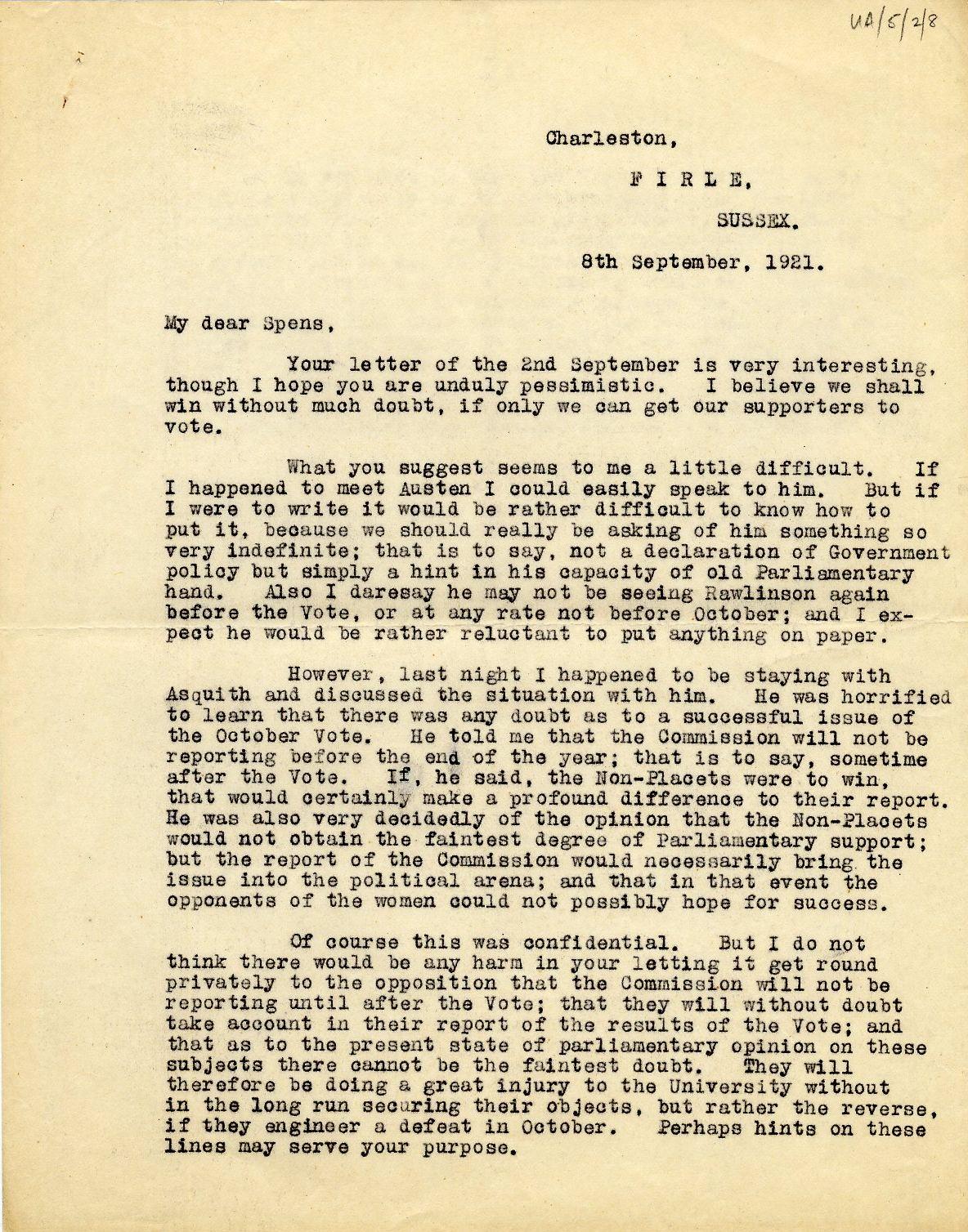 1921 letter from Keynes to Will Spens.  [JMK/UA/5/2/8]