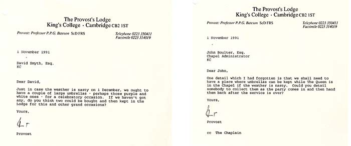 Provost Bateson requests umbrellas for the Royal Visit, 1991. (KCAR/1/2/5/1/52)