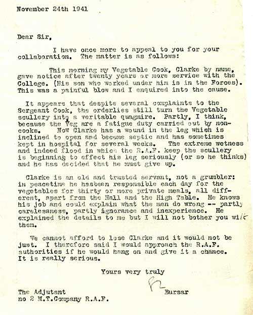 The Bursar writes to the RAF Adjutant concerning the resignation of the College's vegetable cook