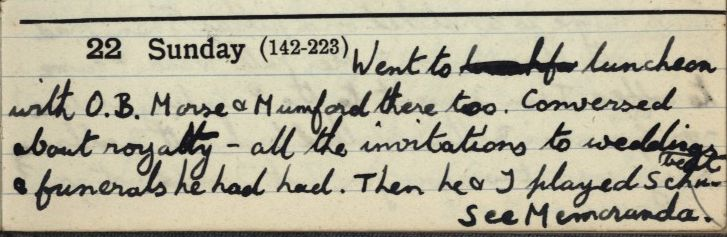 Forster's undergraduate diary for 22 May 1898 mentioning playing Schubert with Oscar Browning. [EMF vol. 2/2]