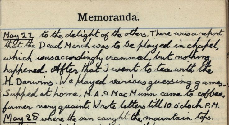 Continuation of Forster's undergraduate diary for 22 May 1898 mentioning playing Schubert with Oscar Browning. [EMF vol. 2/2]