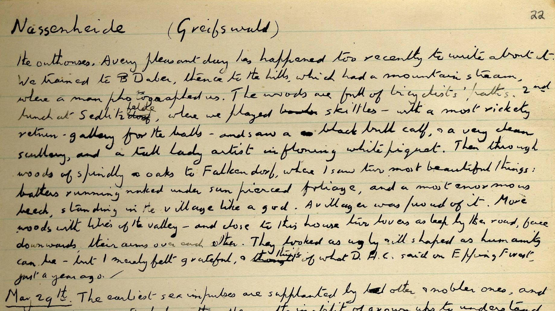 Journal entry relating to Forster's sight of naked bathers in 1905. [EMF vol. 3/9]