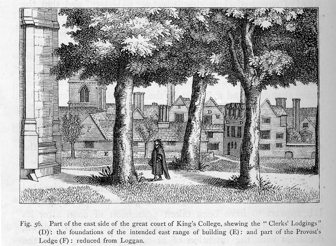 Labelled enlargement of  plate XI from Loggan's Cantabrigia Illustrata, showing the former Provost's Lodge and 'Clerks' Lodgings' (Willis and Clark, vol. 1, p. 552, fig. 56).