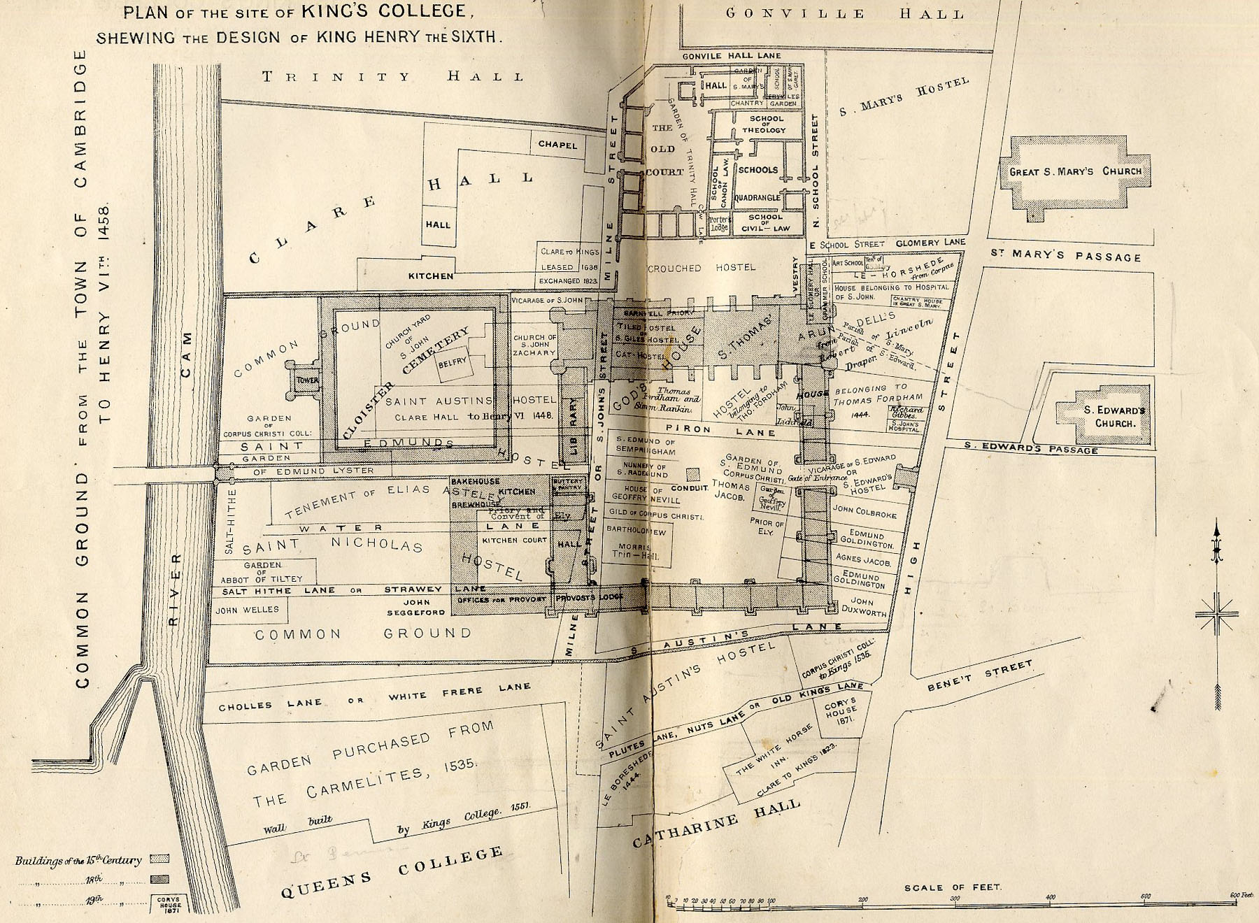 Plan of the site of King's College, showing the design of King Henry VI (Willis and Clark, figure 3a).