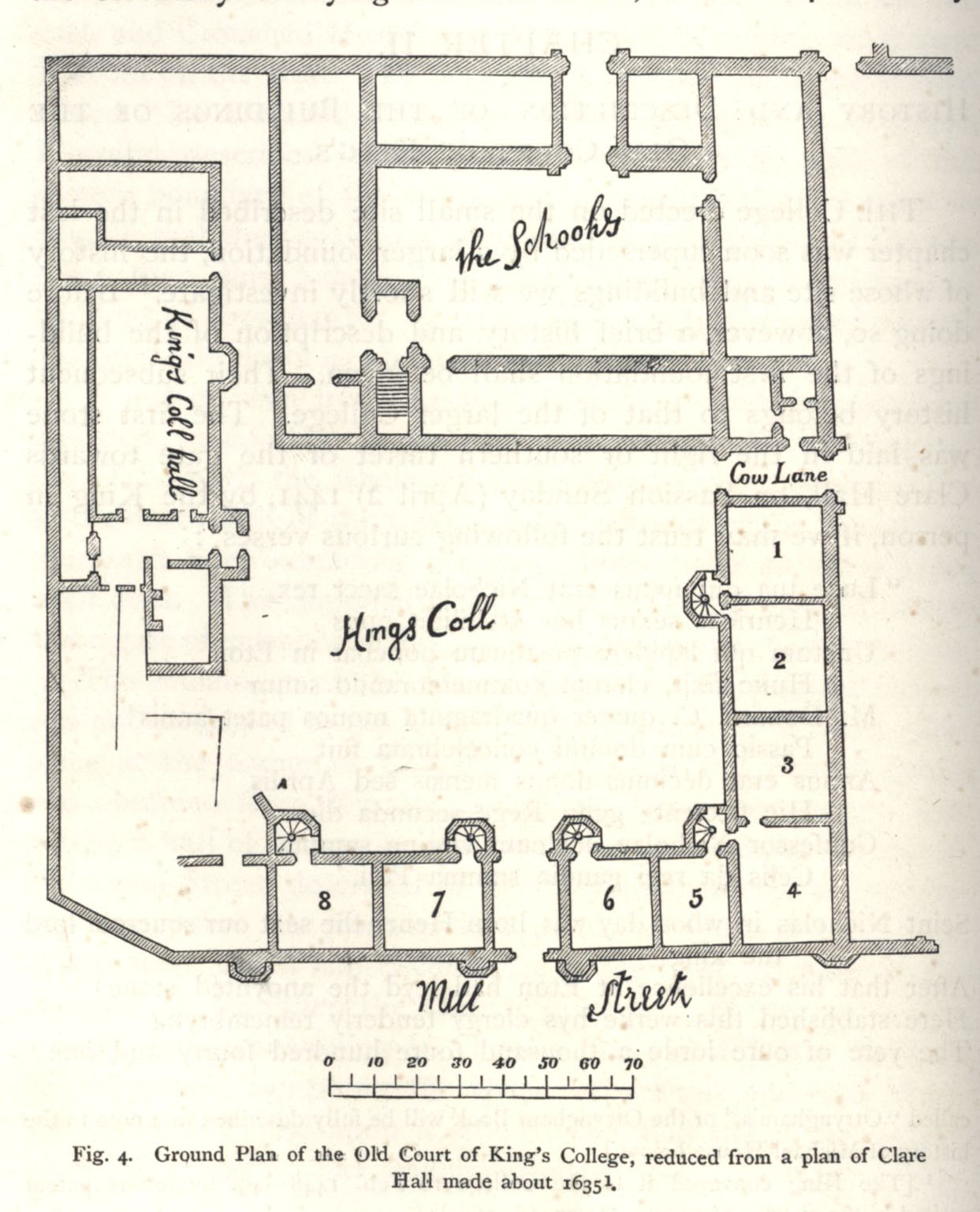 Ground plan of the Old Court. [Willis and Clark, vol. 1, p. 322, fig. 4]