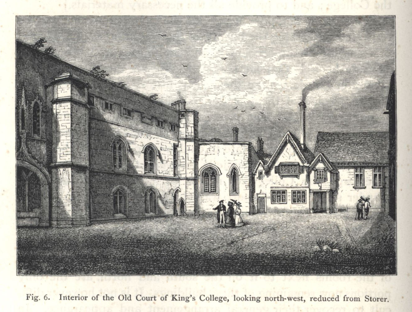 Interior of the Old Court, looking north-west, reduced from a print by Storer, taken about 1830. [Willis and Clark, vol. 1, p. 324, fig. 6]