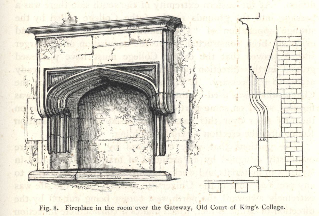 Fireplace in the room over the Gateway of the Old Court. [Willis and Clark, vol. 1, p. 325, fig. 8]