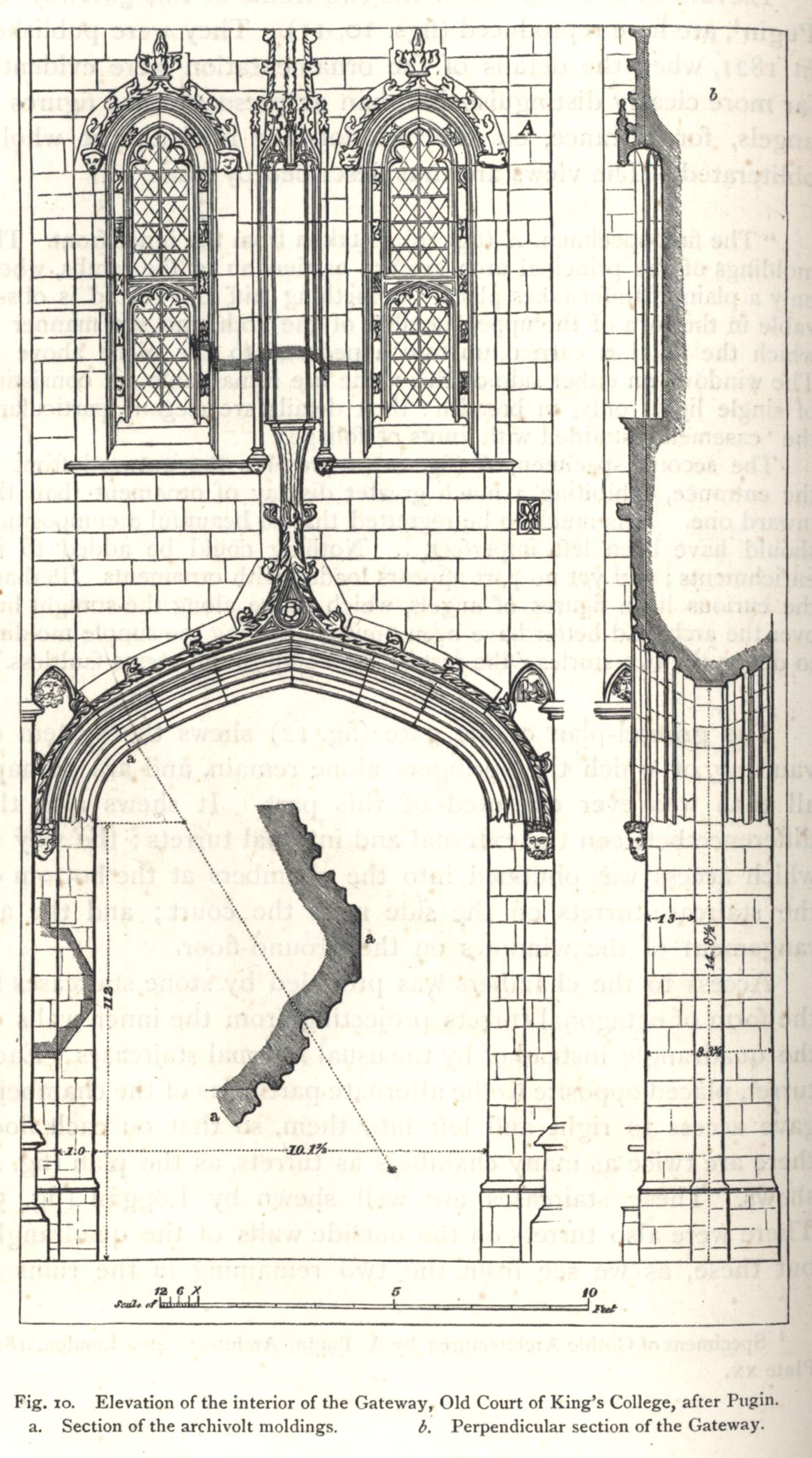 Elevation of the interior of the Gateway, Old Court, after Pugin. [Willis and Clark, vol. 1, p. 328, fig. 10]