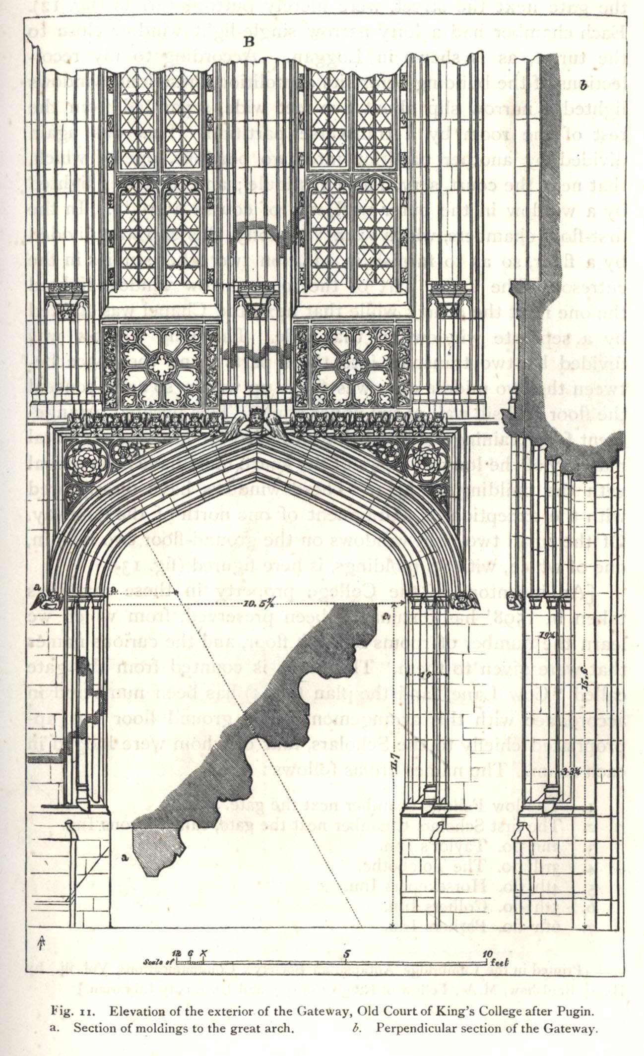 vation of the exterior of the Gateway, Old Court, after Pugin. [Willis and Clark, vol. 1, p. 329, fig. 11]