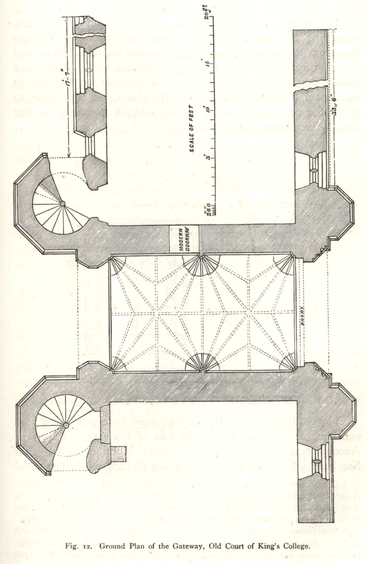 Ground plan of the Gateway, Old Court. [Willis and Clark, vol. 1, p. 331, fig. 12]