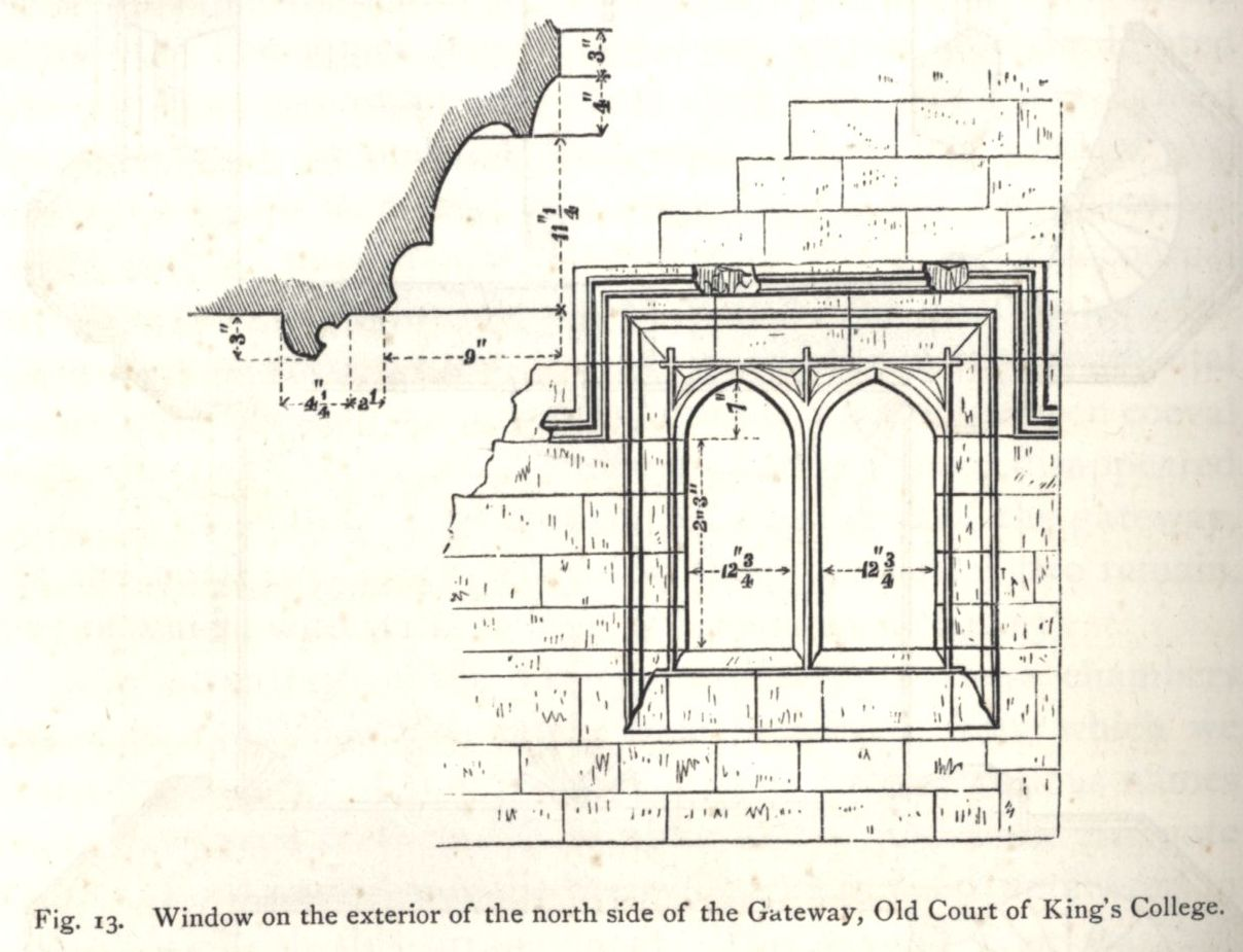Window on the exterior of the north side of the Gateway, Old Court. [Willis and Clark, vol. 1, p. 332, fig. 13]