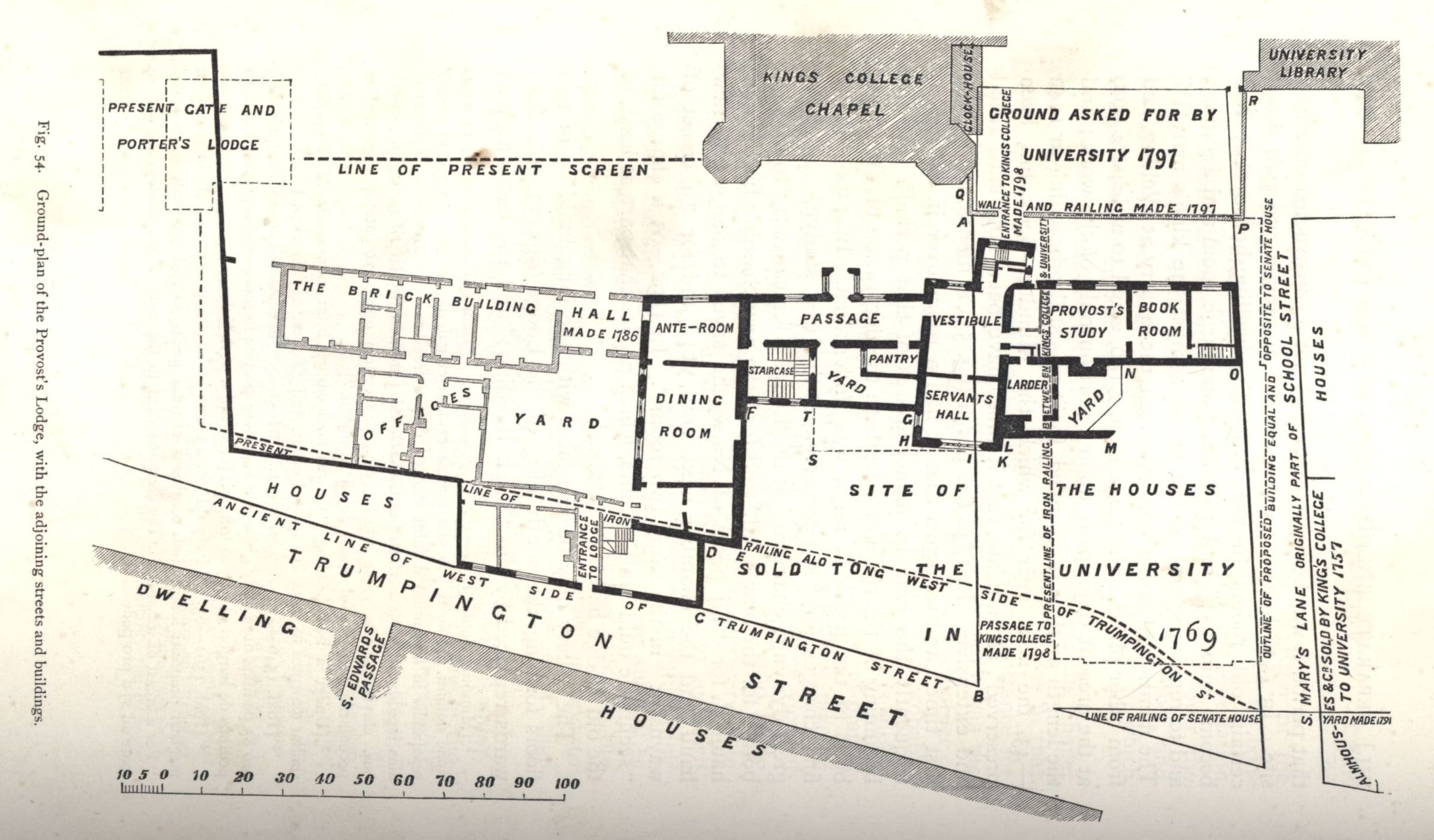Plan showing the position of the former Provost's Lodge and other buildings, with sale details and location of present screen. [Willis and Clark, vol. 1, p. 544, fig. 54]