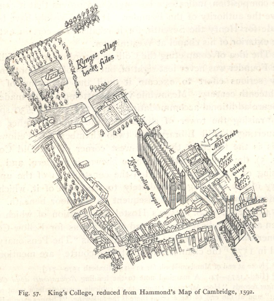 King's College, reduced from Hammond's Map of Cambridge, 1592. [Willis and Clark, vol. 1, p. 553, fig. 57]