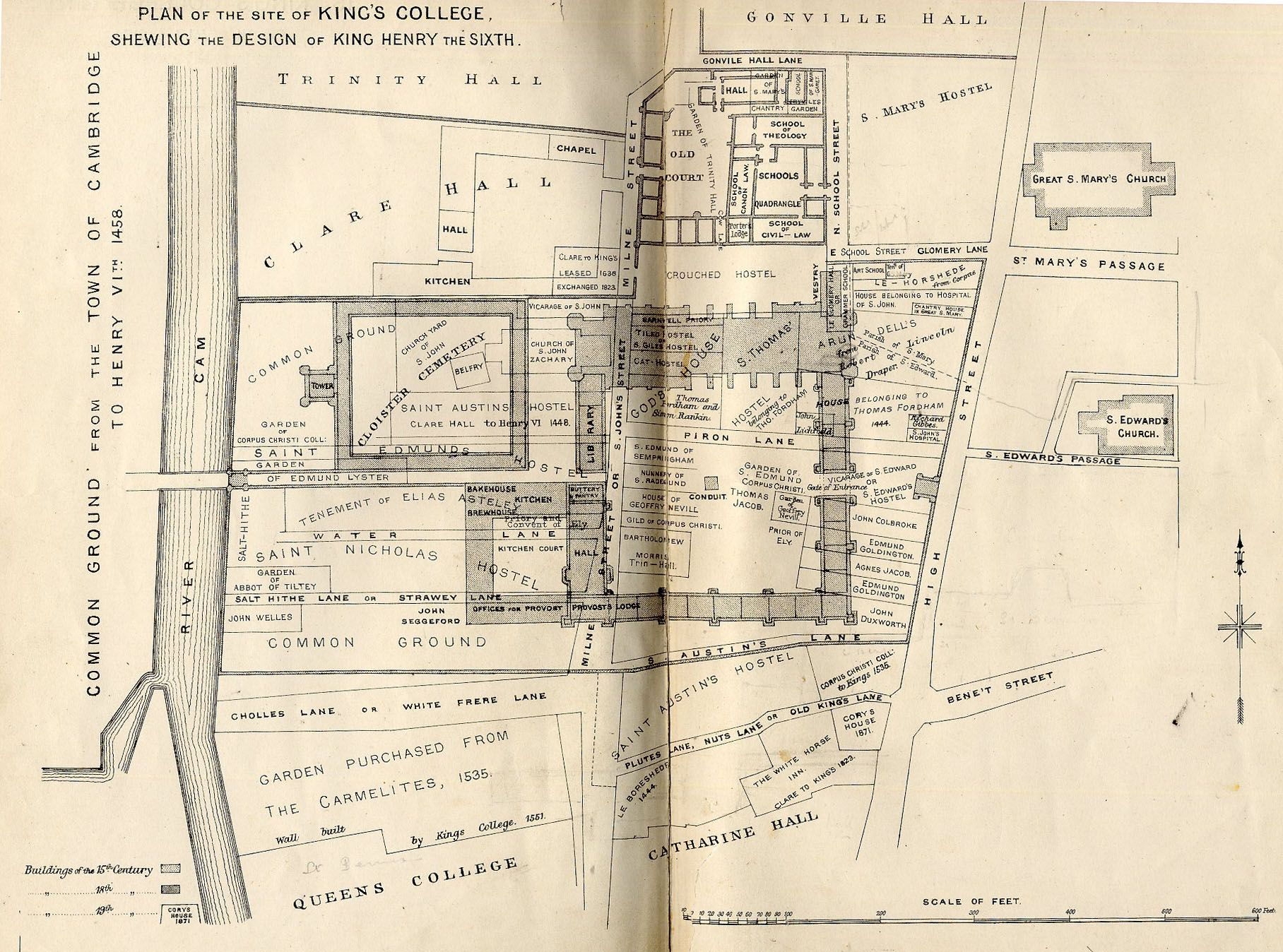 Plan of the site of King's College, showing the design of King Henry VI. [Willis and Clark, figure 3a]