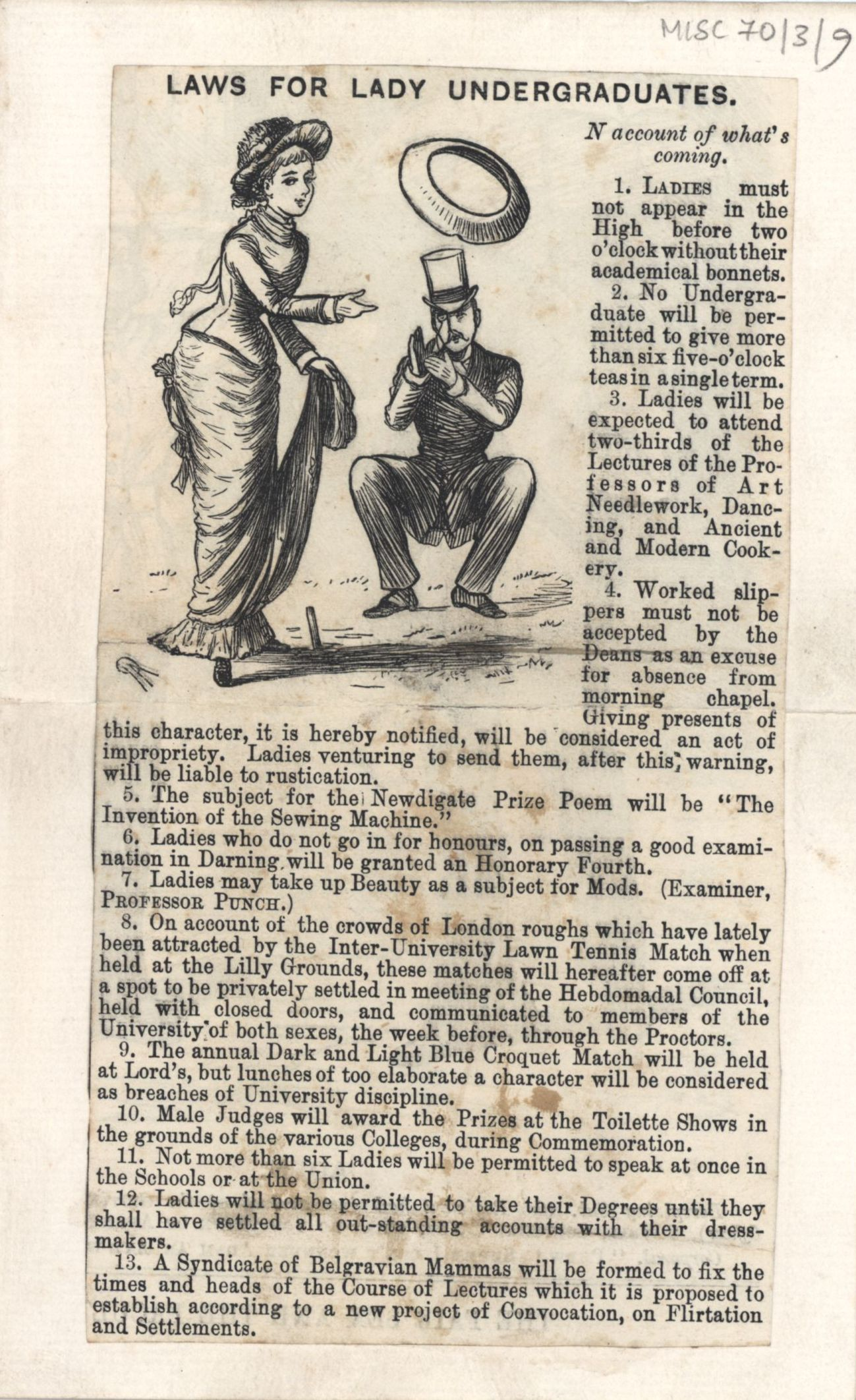 This Victorian parody showing the uphill battle women had, to overcome the prejudice that women were chatterboxes concerned only with needlework and pretty dresses. [Misc. 70/3/9]