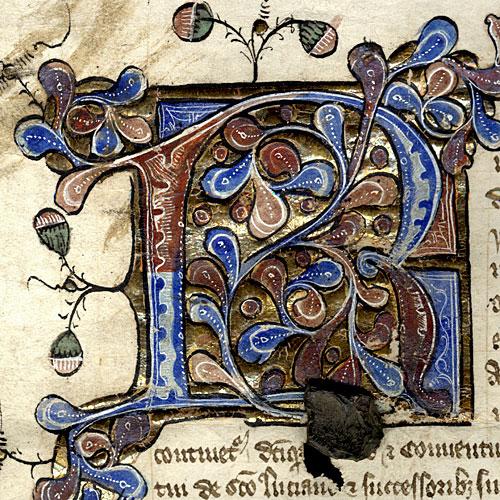 Illuminated Capital 'R' on a Royal Licence of Richard II, 1393 (WEL/19)