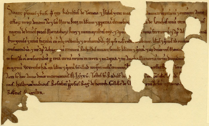 Oldest record in the King's College archives: a grant of land including West Wretham to the Abbey of Bec, 1085. (WEW/23)