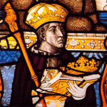 Henry VI as depicted in the stained glass of the Chapel