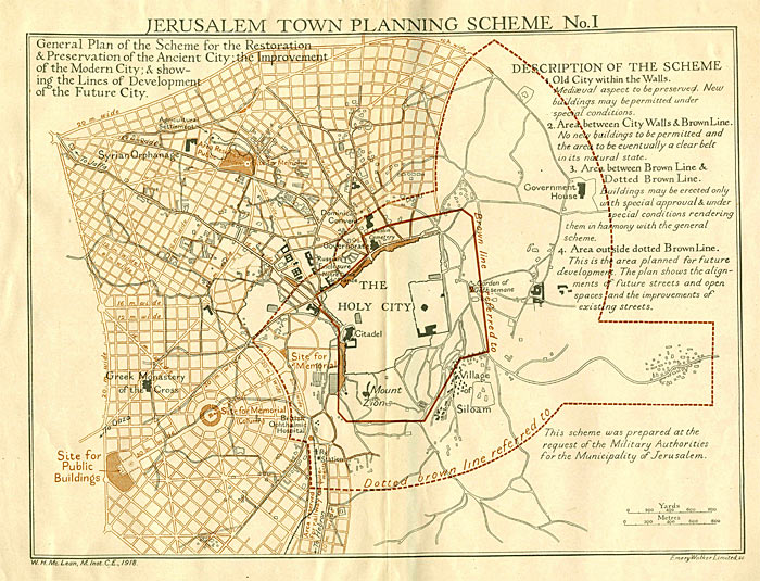 Jerusalem Town Planning Scheme by WH McLean, 1918.