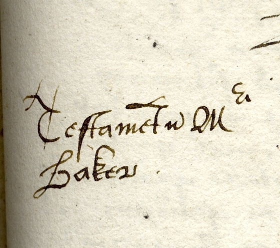'Testamentum Magistri Baker' marginal note in the first ledger book folio 360