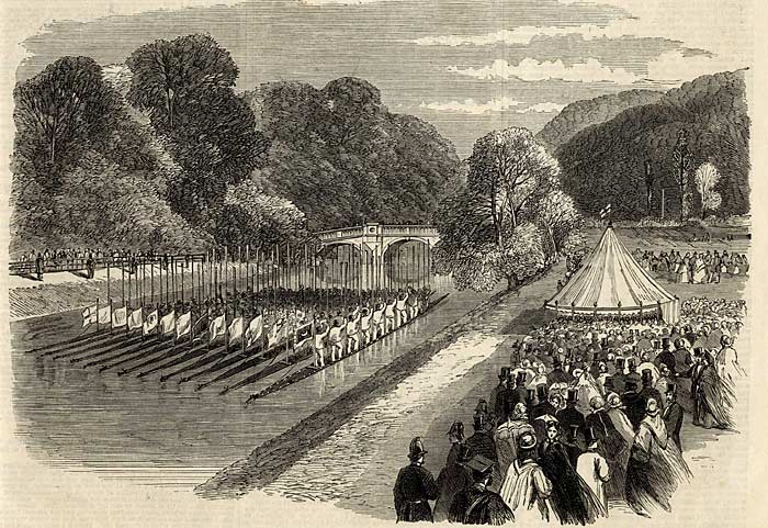 Engraving of boats on the River Cam to mark the Prince and Princess of Wales' visit to Cambridge, 1894. (KCHR/4/1)