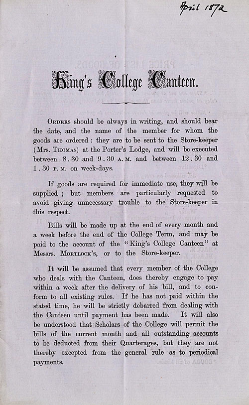 King's Canteen Rules (1872)