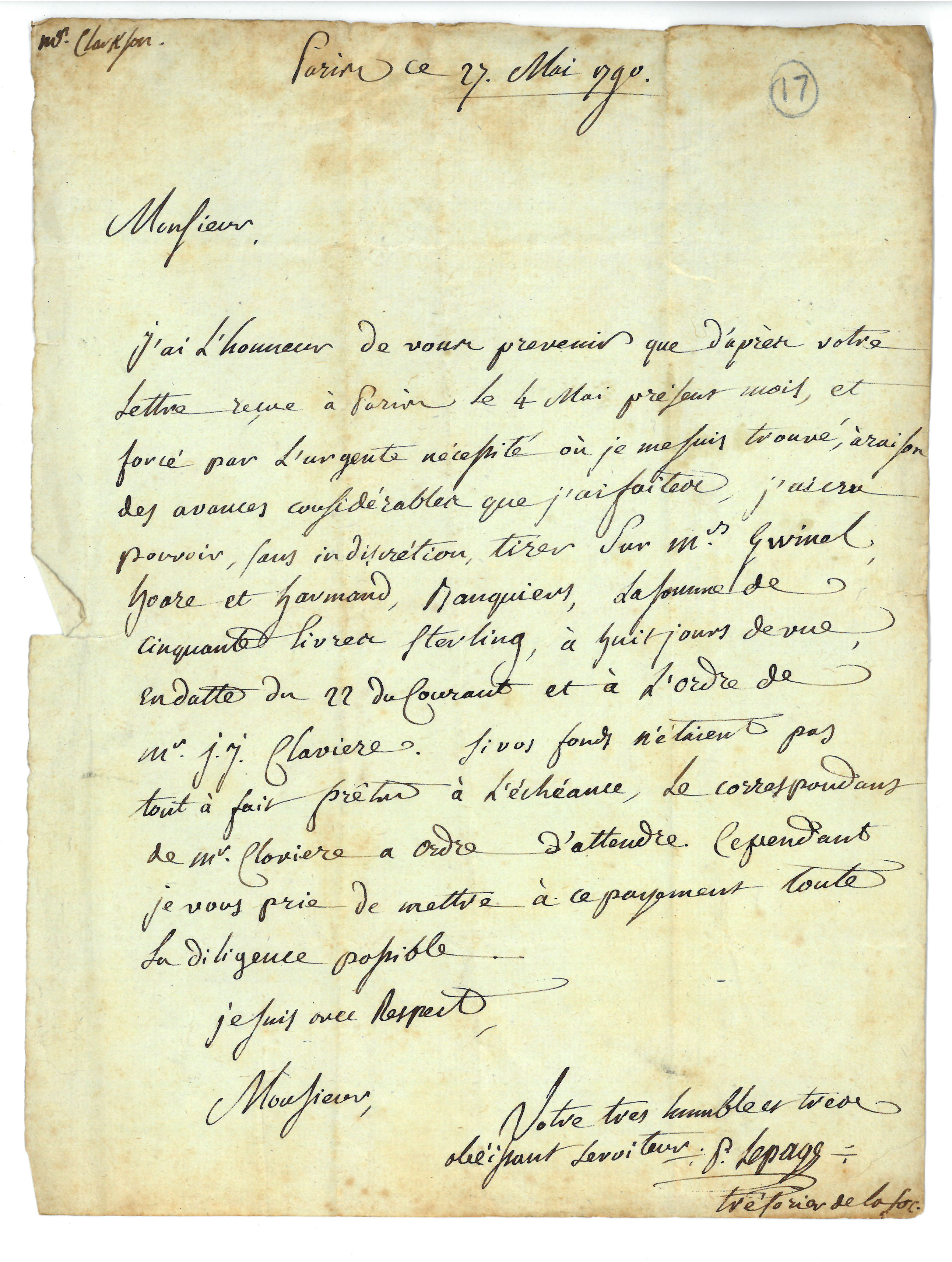 A signed letter, written in French, from P. Lepage, Treasurer of the Societe des Amis des Noirs, to Thomas Clarkson. Paris, 27 May 1790. St. John's College Library, Cambridge. Doc 17