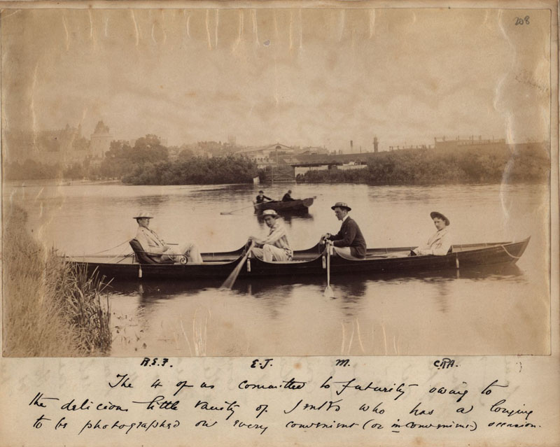 Photograph from C.R. Ashbee's journal of R[oger] E[liot] F[ry], E[dward] J[enks], MacEwan and C[harles] R[obert] A[shbee] on a 4 day long trip along the Thames from Abington to Windsor, in June 1886. [CRA/1/2, f.208]