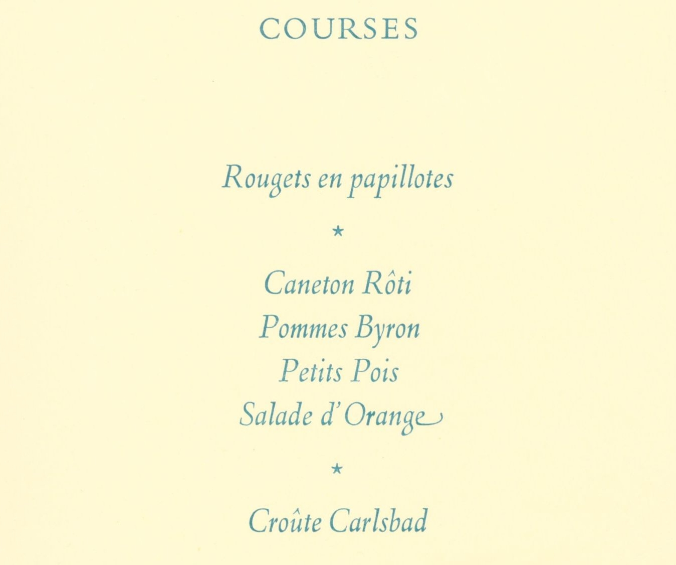 Menu for Forster's 80th birthday dinner in the Hall [KCAR/5/4/1/11]