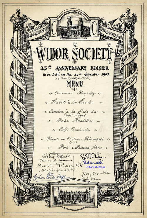 Menu for the Widor Society's 25th Anniversary dinner, 24 November 1962 (KCAS/21/4)