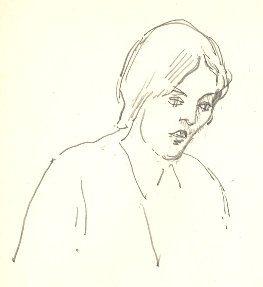 Sketch of Vanessa Bell by Roger Fry, 1919 (REF/4/8/10, 16).