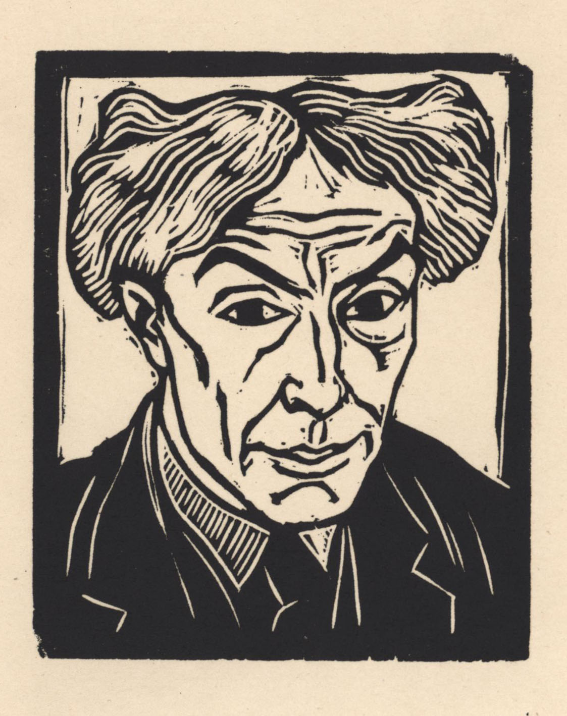 Self-portrait by Roger Fry, taken from 'Twelve Original Woodcuts (1921)