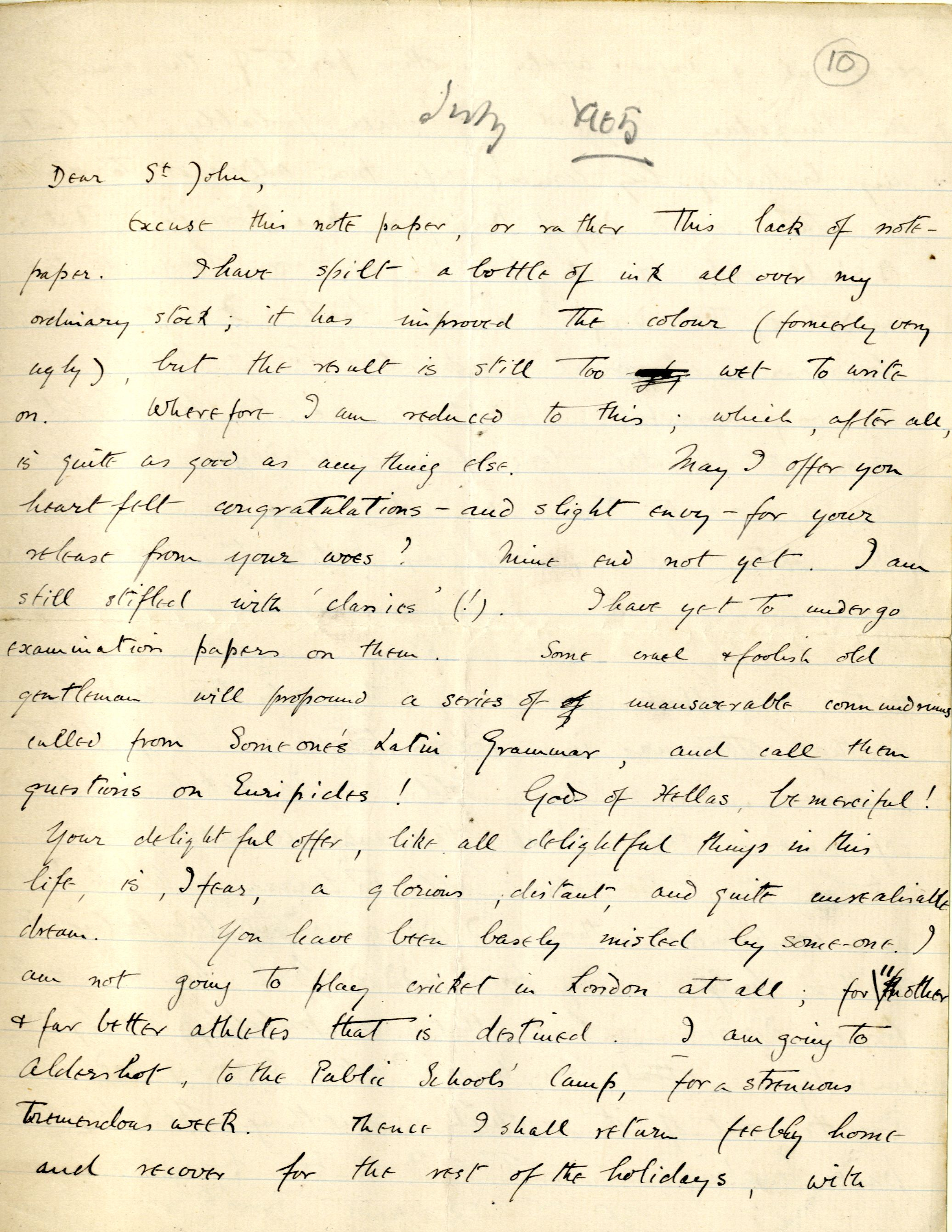 Letter from Rupert Brooke to St John Lucas, July 1905. Archive Centre, King's College, Cambridge. RCB/L/2, letter 10 (first page)