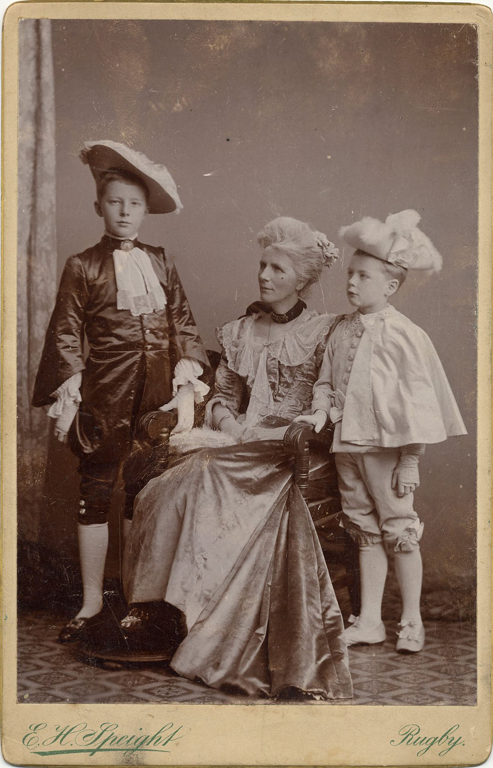 Portrait of Rupert, Alfred and Mary Ruth Brooke in period costume. Taken in 1898 by E.H. Speight, Rugby (RCB/Ph/4).