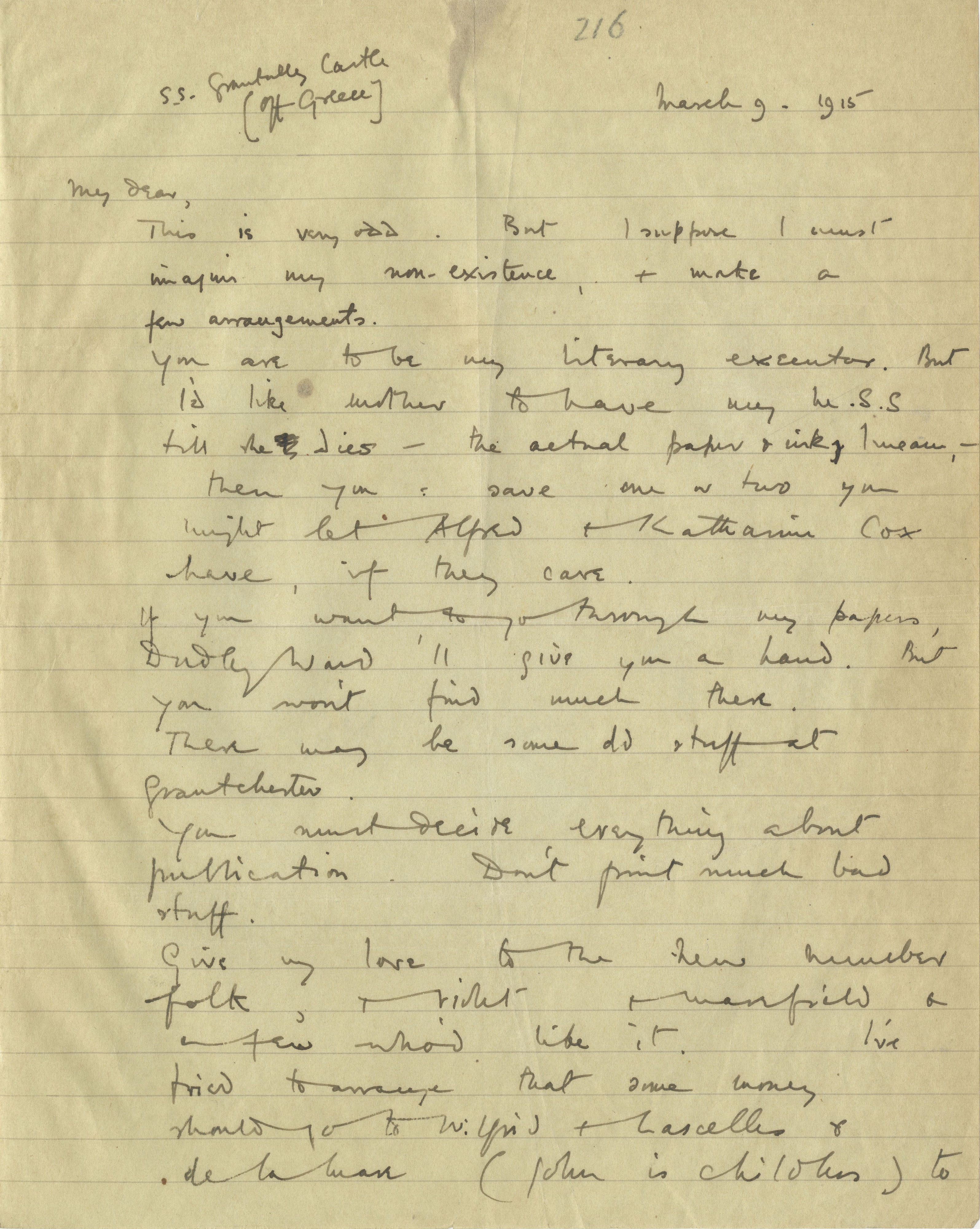 First page of a letter from Rupert Brooke to Edward Marsh, 9 March 1915 (RCB/S/5/2, 216)