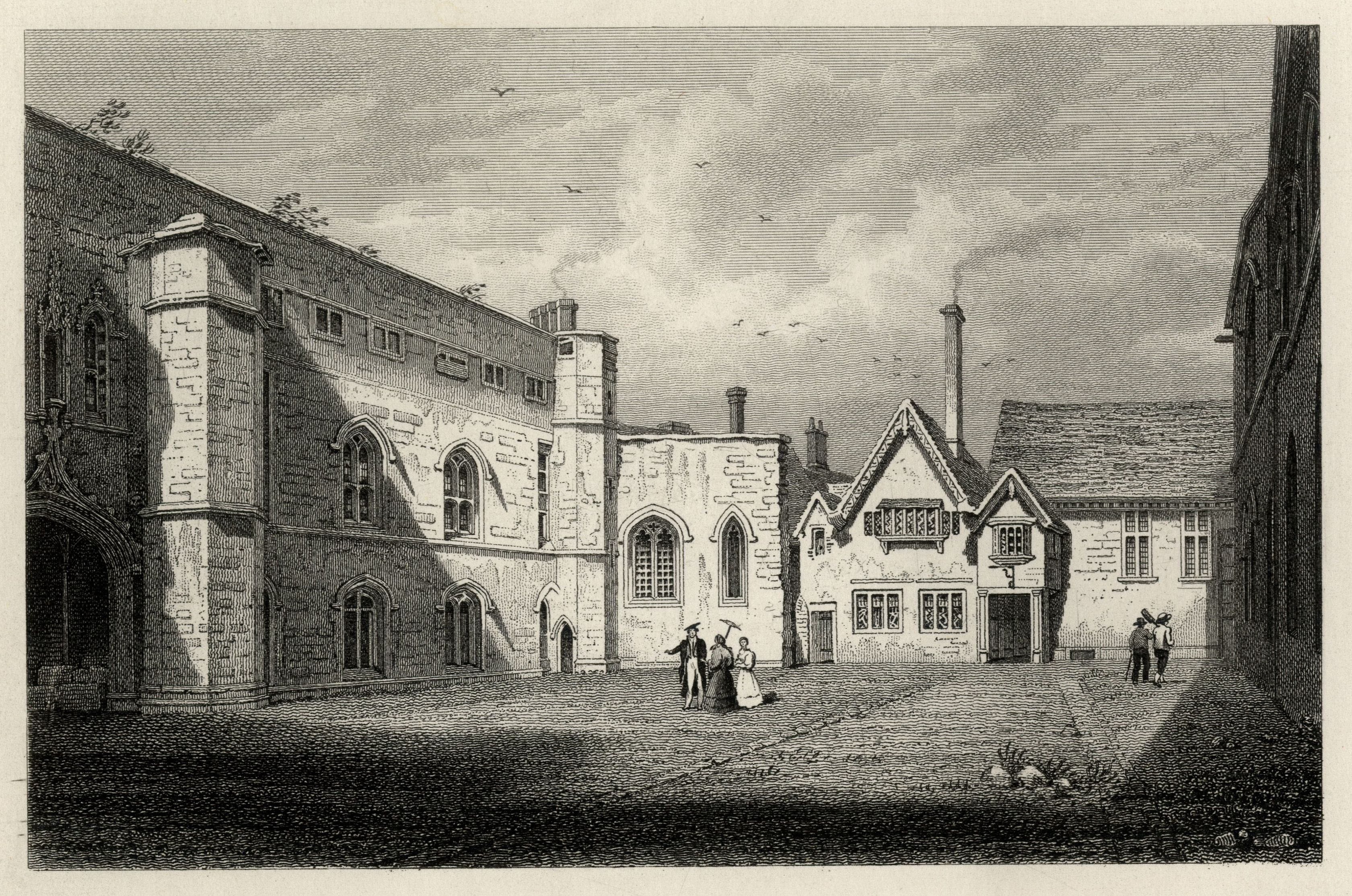 Old Court. The College's original dining hall is the gabled building at the centre, with smoke rising from its chimney. (Cooper's Memorials vol 1 p 225)