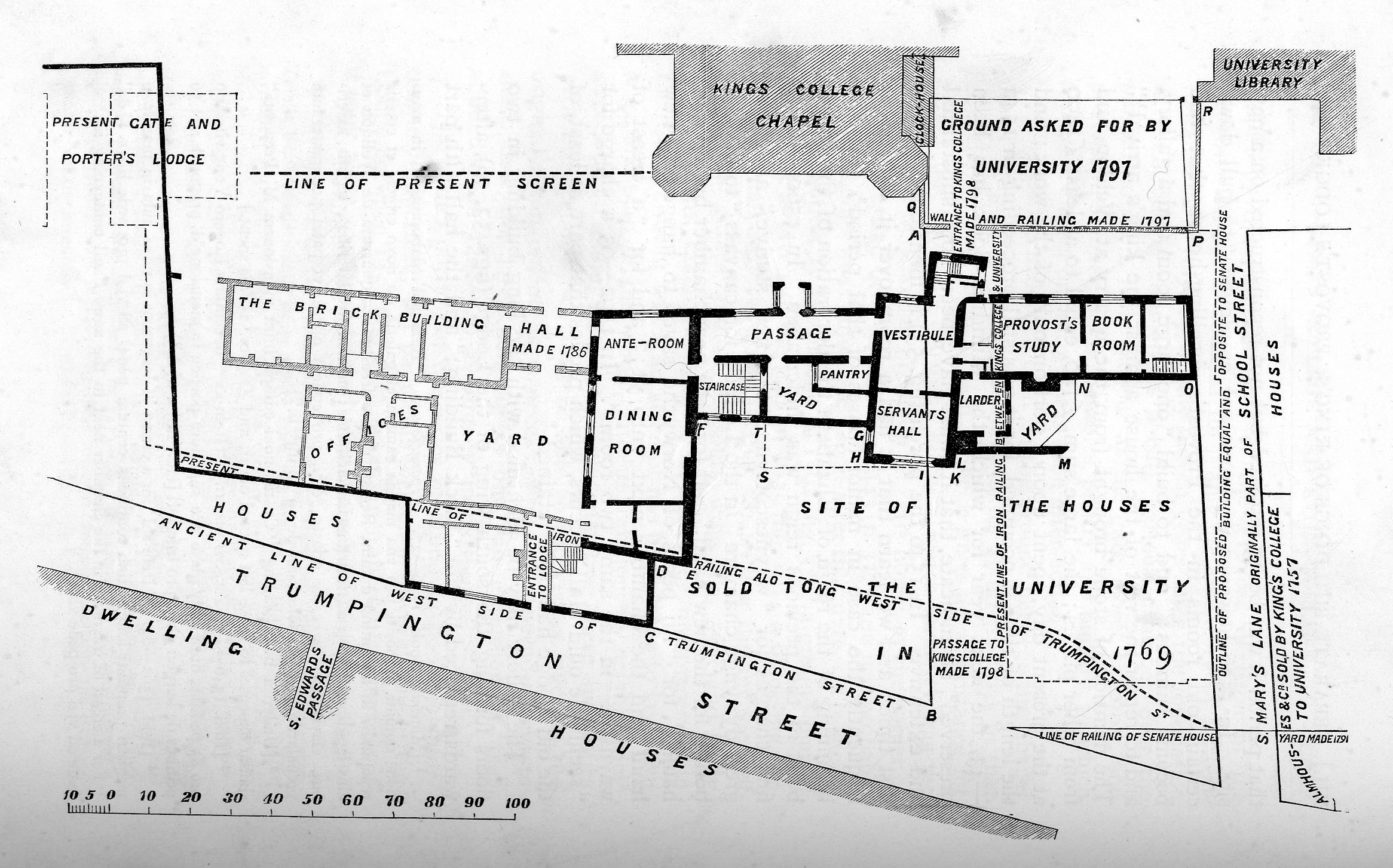 Plan showing the position of the former Provost's Lodge and other buildings, with sale details and location of present screen (Willis and Clark, vol. 1, p. 544, fig. 54).