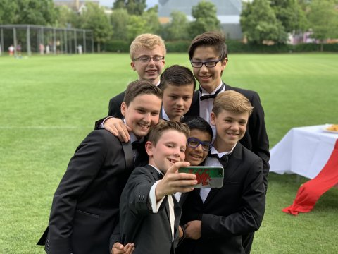 Some of the leaving choristers at the school ball