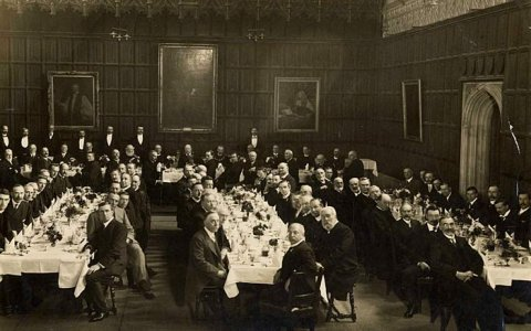 Dinner in King's College Hall. [c.1900]