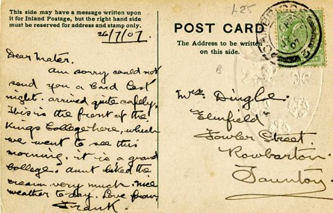 Postcard from Frank Dingle to his mother (26 July 1907)