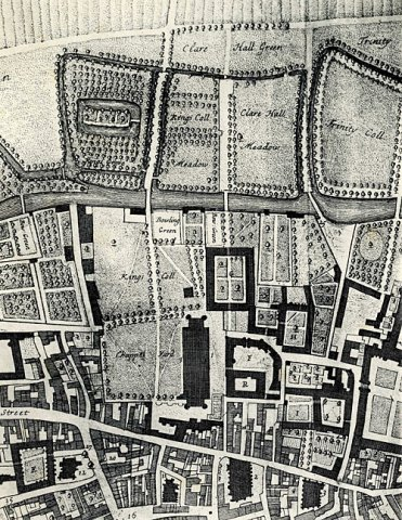 "Map of the college from 1688. The map shows the original course of the path from the Back Gate. It runs through what is now the Back Lawn (marked ""King's Coll"")."