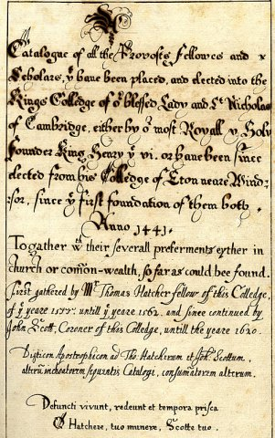 Title page of 16th century catalogue of Kingsmen (KCAC/1/1/11)